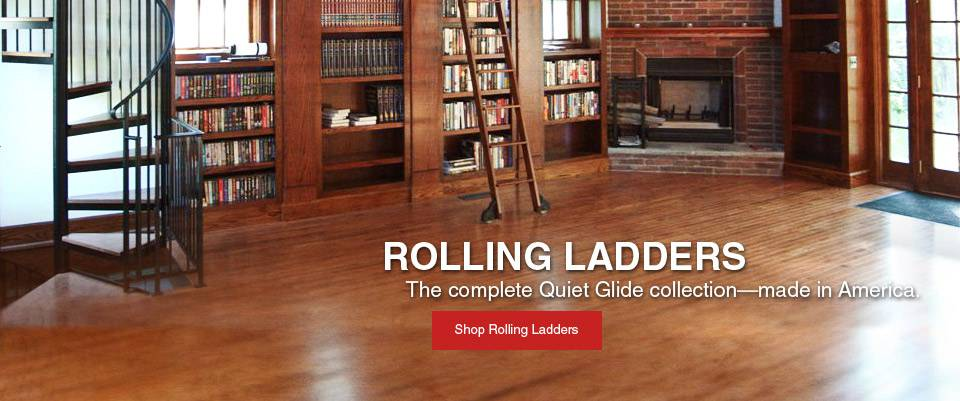 Quiet glide rolling library ladders